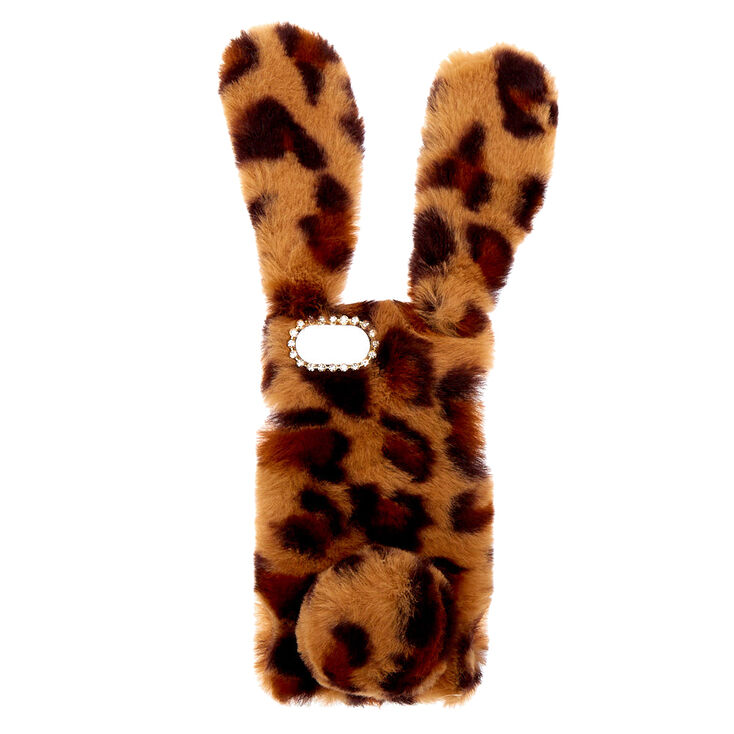 Leopard Print Fur Bunny Phone Case - Fits iPhone 6/7/8/SE,