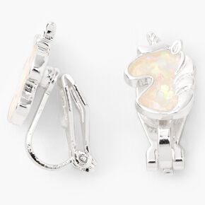 Silver Holographic Horse Clip-On Stud Earrings,