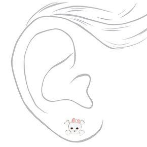 Clous d'oreilles tête-de-mort os croisés nœud rose couleur argentée,
