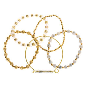 Gold Marble Beaded Stretch Bracelets - White, 5 Pack,