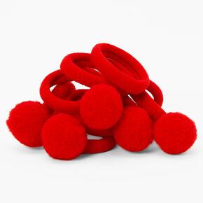 Élastiques à pompons Claire'sClub - Lot de 10, rouge,