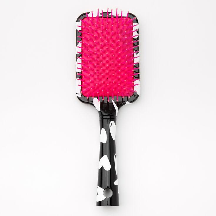 Heart Print Paddle Hair Brush - Black,
