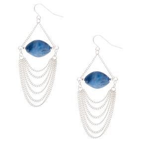 """Silver 2.5"""" Stone Drop Earrings - Blue,"""