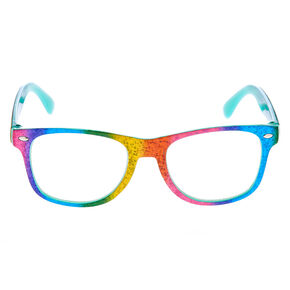 Claire's Club Rainbow Sparkle Retro Clear Lens Frames,
