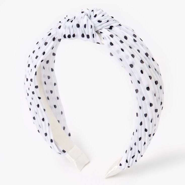 Polka Dot Pleated Knotted Headband - White,