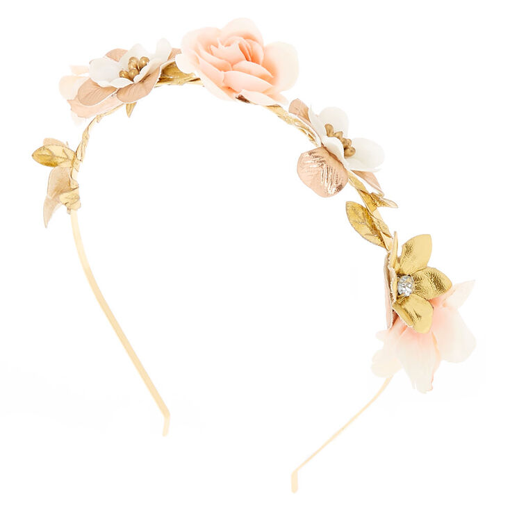 Rose Gold Flower Skinny Headband - Blush Pink,