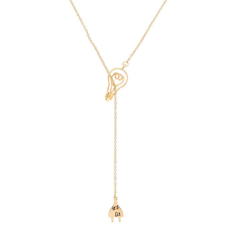 Gold-Tone IT'S LIT Necklace,