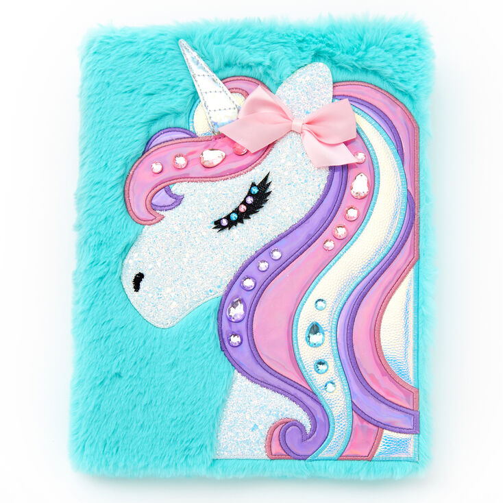 Sparkling Unicorn Plush Sketchbook - Turquoise,