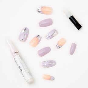 Faux ongles ballerine métallisés effet marbré lilas - Lot de 24,