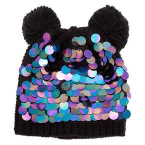 ef1c7b5ba85 Chunky Sequin Bear Ears Beanie - Black