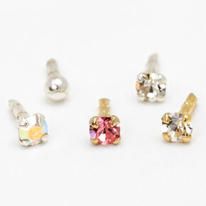 Mixed Metal 16G Crystal Ball Labret Studs - 5 Pack,
