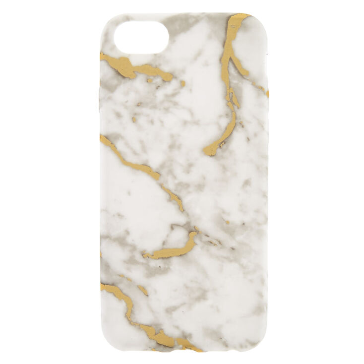 White + Gold Marble Phone Case   Fits I Phone 6/7/8 by Claire's