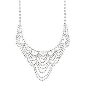Silver Rhinestone Draped Statement Necklace,