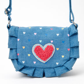 Claire's Club Ruffled Denim Heart Crossbody Bag - Blue,