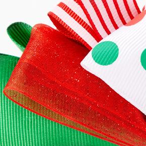 Striped Polka Dot Bow Headband - Green,