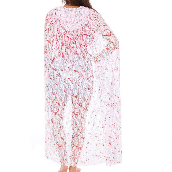 Blood Splatter Lace Cape - White,