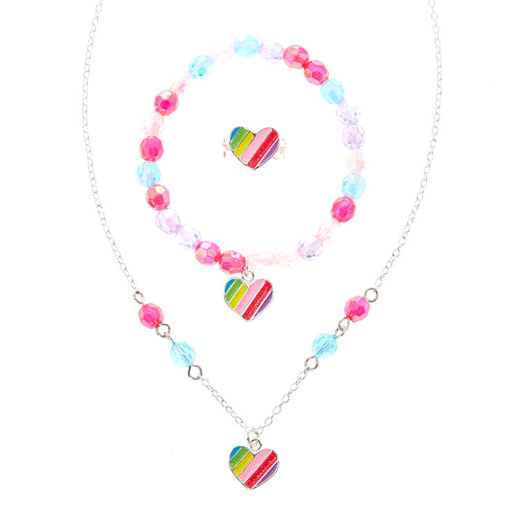 Claire's Club Rainbow Heart Jewellery Set - 3 Pack,