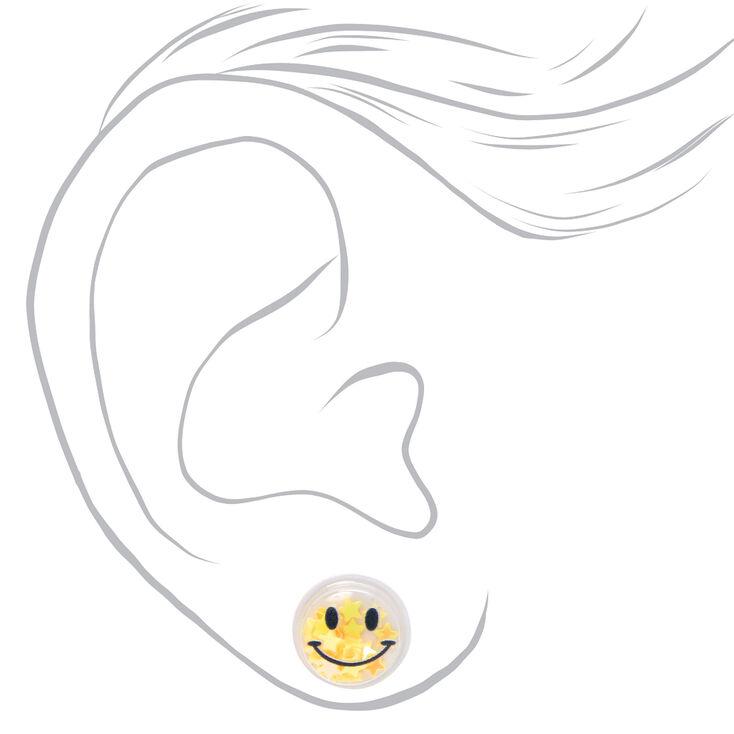 Smiley Face Star Shaker Stud Earrings - Yellow,