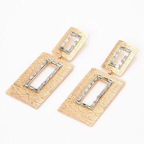 """Gold 3"""" Open Rectangle Baguette Rhinestone Drop Earrings,"""