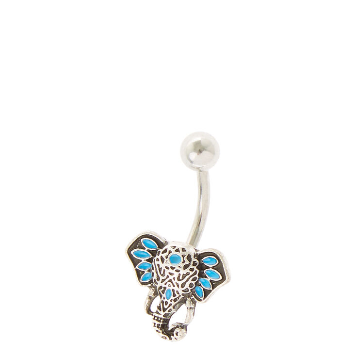 Teal Elephant Belly Ring Claires Us