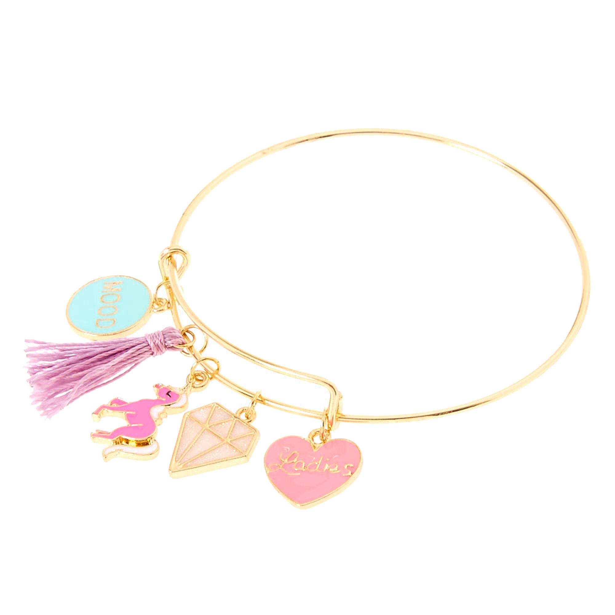 Gold Tone Unicorn Charm Bangle Bracelet