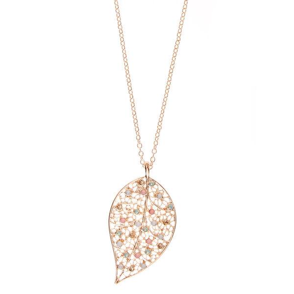 Claire's - filigree leaf pendant necklace - 1