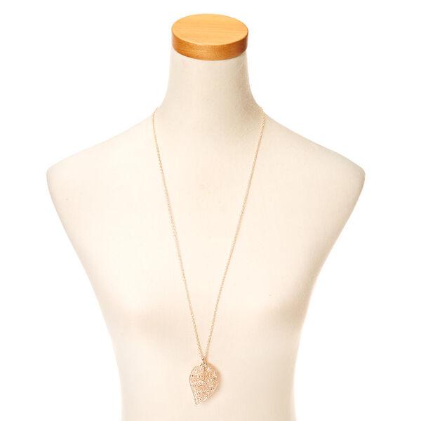Claire's - filigree leaf pendant necklace - 2