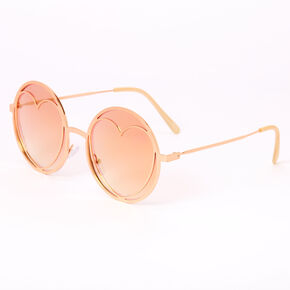 Heart In Circle Round Sunglasses - Rose Gold,