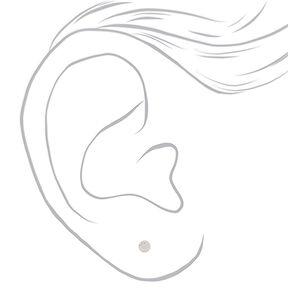 Clous d'oreille ronds 4mm zircon cubique d'imitation en argent,