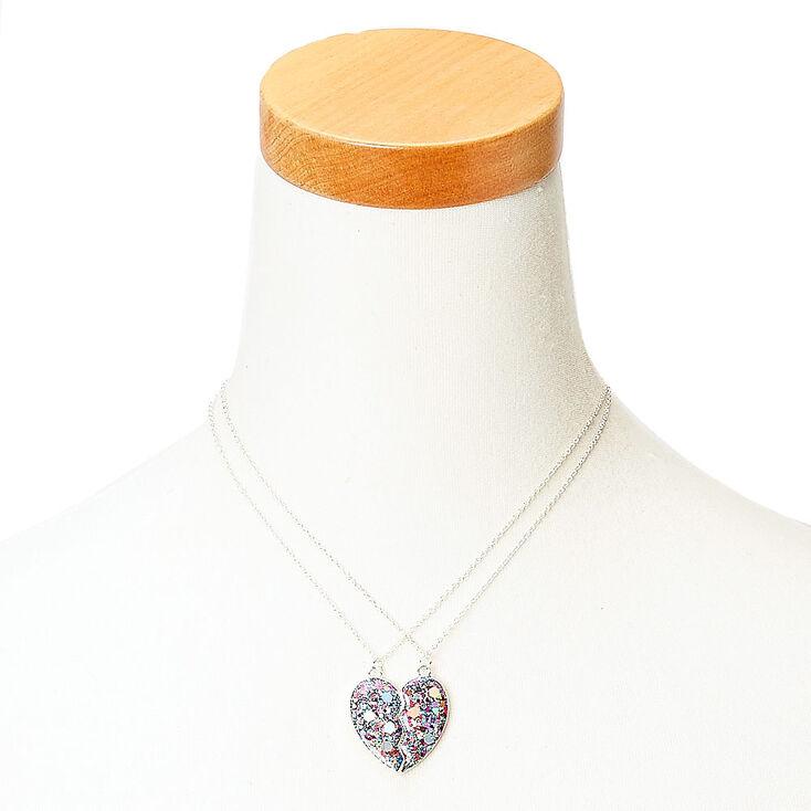 Best Friends Glitter Confetti Heart Split Pendant Necklaces,