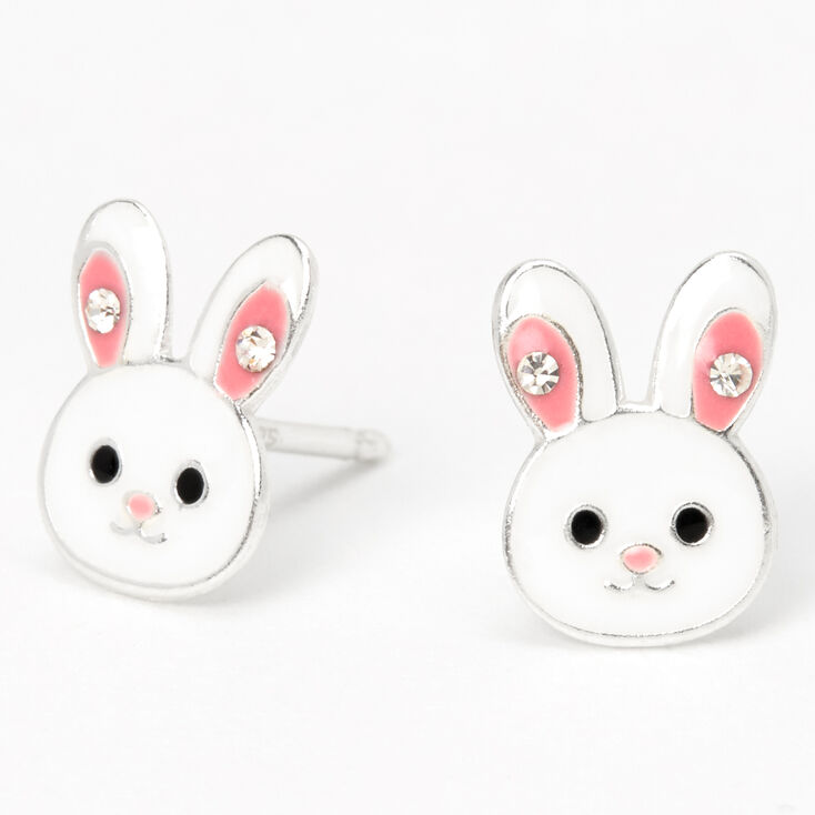 Sterling Silver Bunny Stud Earrings - White,