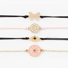 Gold Filigree Butterfly Bracelets - 4 Pack,