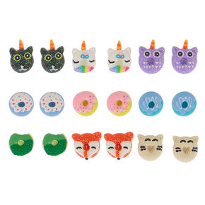 Animal Donut Stud Earrings - 9 Pack,