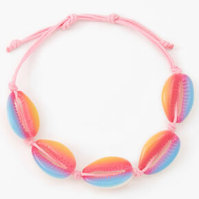 Pink Ombre Cowrie Shell Adjustable Cord Bracelet,