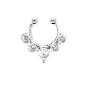 Silver Flower Faux Septum Ring,