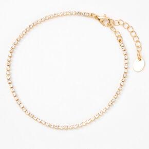 Rose Gold Single Rhinestone Anklet,