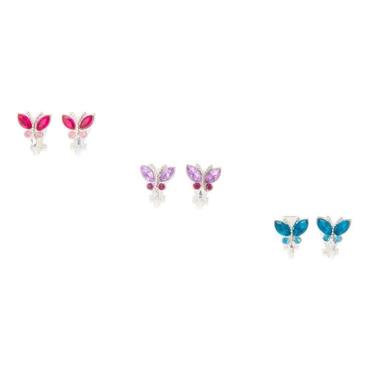 Pretty Pastel Butterfly Clip On Earrings - 3 Pack,