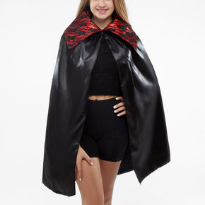 Vampiress Faux Leather & Lace Cape - Black,