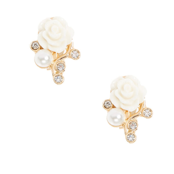 Claire's - tone ivory carved rose clip-on stud earrings - 1