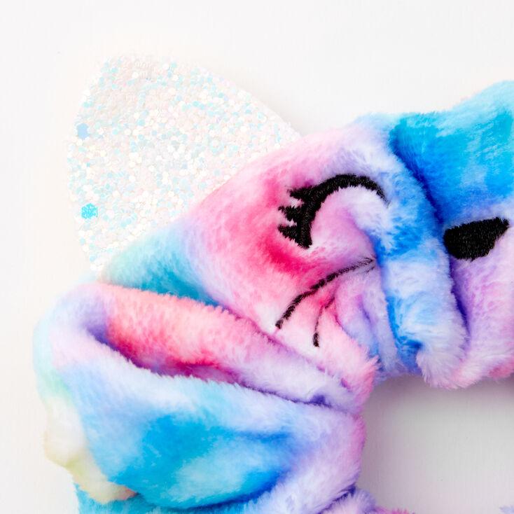 Medium Faux Fur Blue & Pink Tie Dye Cat Hair Scrunchie,