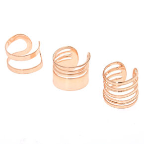 Rose Gold Wire Ear Cuffs - 3 Pack,