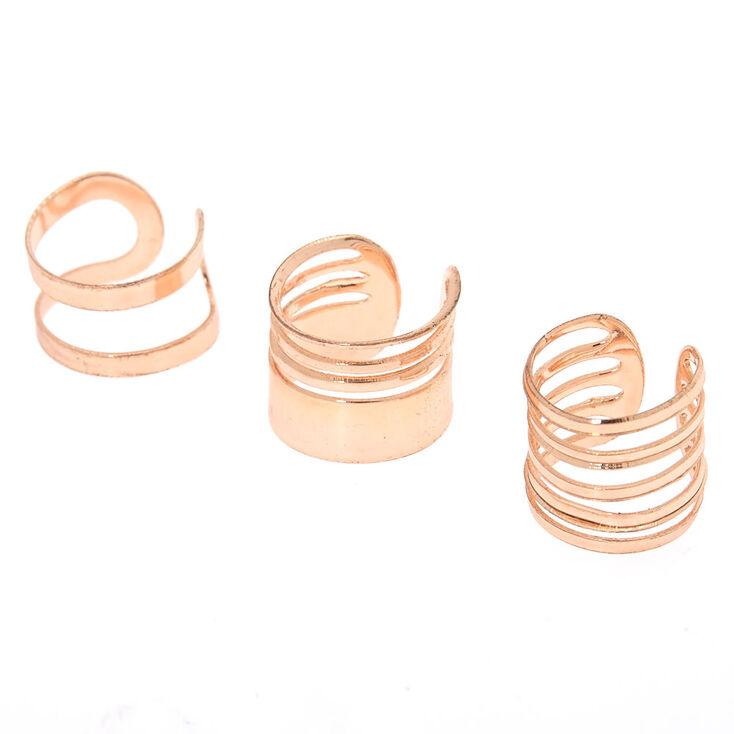 Rose Gold Wire Ear Cuffs - 3 Pack,