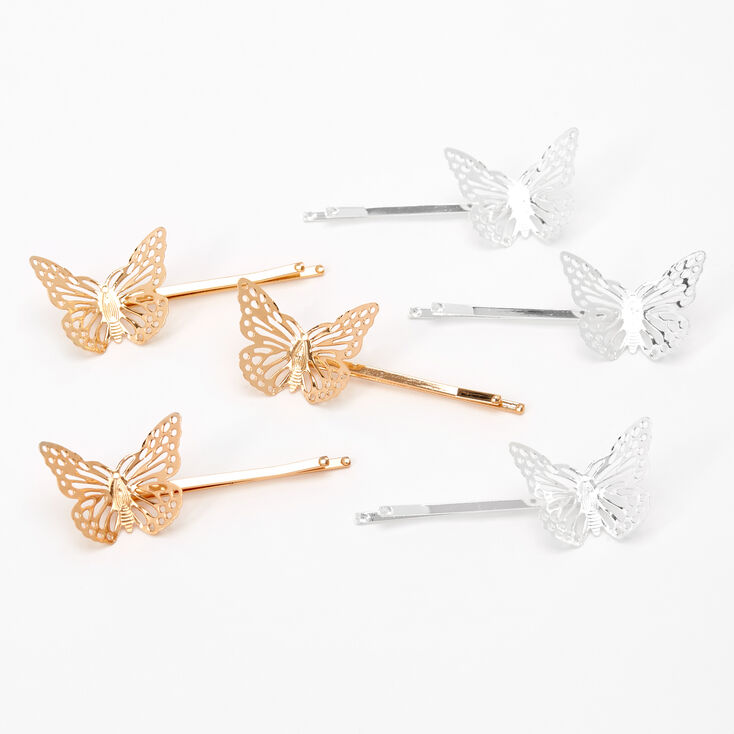 Gold & Silver Butterfly Hair Pins - 6 Pack,