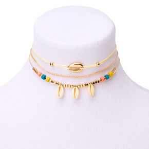 Gold Tropical Cowrie Choker Necklaces - 3 Pack,