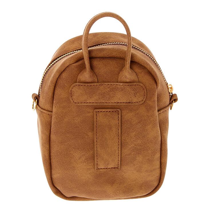 Mini sac à dos à bandoulière en similicuir - Cognac,