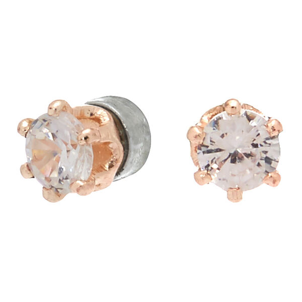 Claire's - rose cubic zirconia 3mm round magnetic stud earrings - 1