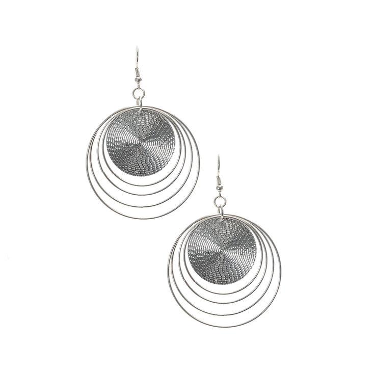Silver Disc Drop Earrings,