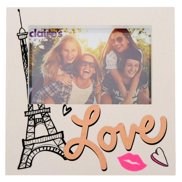 Cadre photo blanc pailleté sur le thème de l'amour et de Paris,