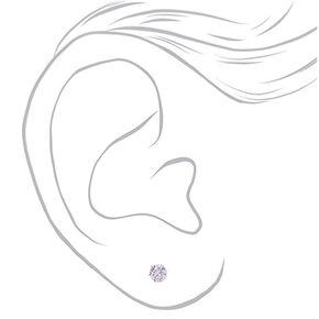 Clous d'oreilles ronds 10mm en zircon cubique d'imitation en argent,
