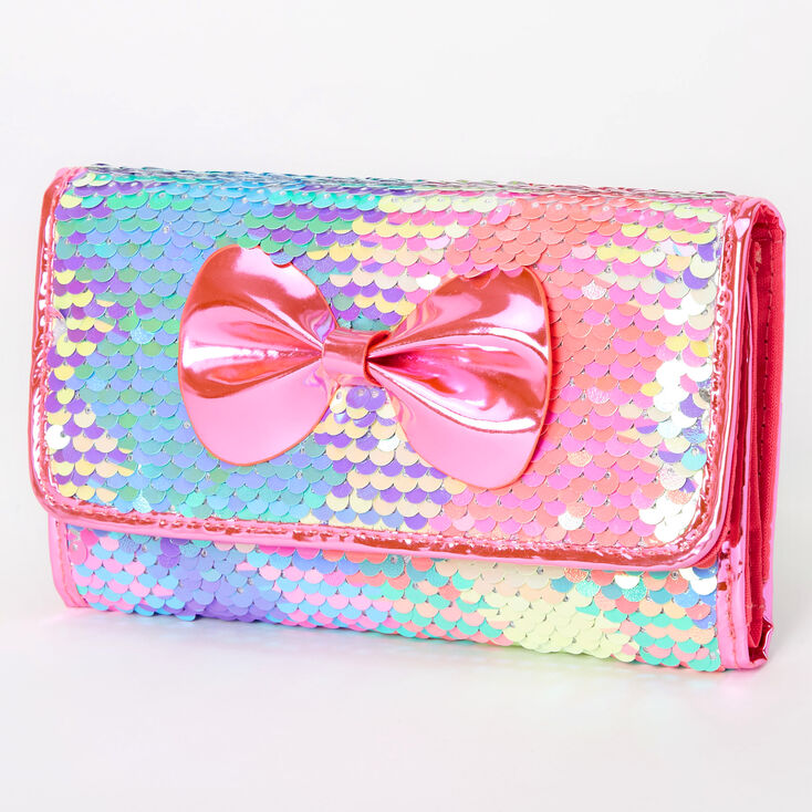 Reversible Sequin Bow Wallet - Pink,